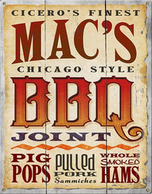 MAC'S BBQ JOINT WESTERN LOOK METAL SIGNS S/O