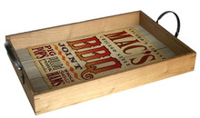 MAC'S BBQ JOINT WESTERN LOOK WOOD TRAY S/O*