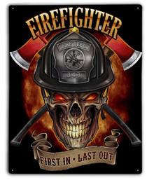 FIREFIGHTER SKULL METAL SIGN S/O