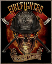 FIREFIGHTER SKULL BIRCH WOOD PRINT S/O