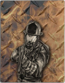 DIAMOND PLATE FIREFIGHTER METAL SIGN S/O*