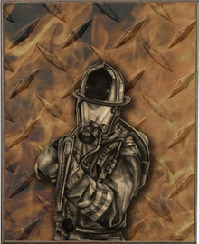 DIAMOND PLATE FIREFIGHTER BIRCH  WOOD PRINT S/O*