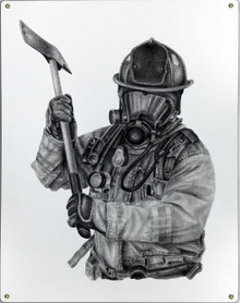 BLACK & WHITE FIREFIGHTER W/AXE METAL SIGN S/O*
