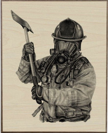 BLACK & WHITE FIREFIGHTER W/AXE BIRCH  WOOD PRINT S/O