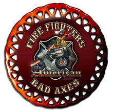 AMERICAN BAD AXES, FIREFIGHTER GLASS ORNAMENT S/O*