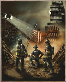 AMERICAN GRACE, 911, FIREFIGHTER  BIRCH WOOD PRINT S/O