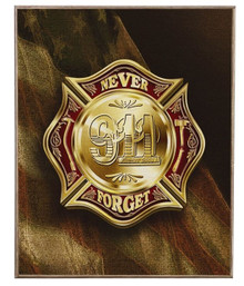 COLORS OF REMEMBRANCE 911 FIREFIGHTER  BIRCH WOOD PRINT S/O*