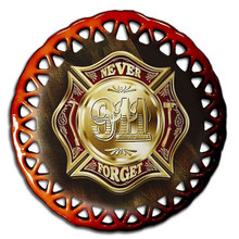 COLORS OF REMEMBRANCE 911 FIREFIGHTER GLASS ORNAMENTS S/O*