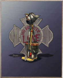 FIREFIGHTER BATTLE CROSS  BIRCH WOOD PRINT S/O