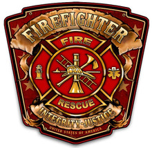 FIREFIGHTER SHIELD METAL SIGN S/O