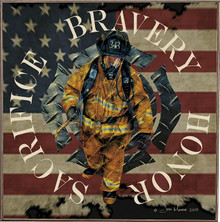 343, FIREFIGHTERS  BIRCH WOOD PRINT S/O