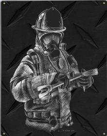 FIREFIGHTERS, HALIGAN METAL SIGN S/O
