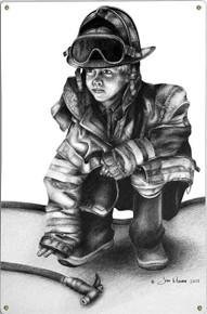 LITTLE HERO, FIREFIGHTER METAL SIGN S/O*