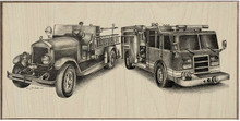 OLD & NEW, FIREFIGHTERS EQUIPMENT  BIRCH WOOD PRINT S/O*