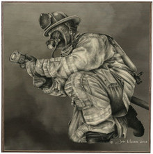 SMOKE, FIREFIGHTER  BIRCH WOOD PRINT S/O*