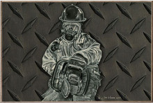 VENT WITH A CHAINSAW, FIREFIGHTER BIRCH WOOD PRINT S/O
