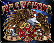 FIREFIGHTER EAGLE METAL SIGN S/O