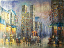 Photo of DOWNTOWN CATHEDRAL LARGE SIZED OIL PAINTING
