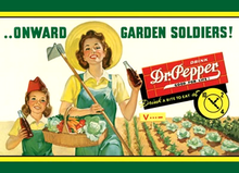 "Photo of DR. PEPPER GARDEN SOLDIERS SHOWS MOTHER AND DAUGHTER IN THEIR ""VICTORY GARDEN"" WWII ADD"