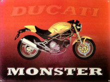 "Photo of DUCATI ""MONSTER"" ENAMEL MOTORCYCLE SIGN, HAS VERY RICH COLOR AND GREAT GRAPHICS"