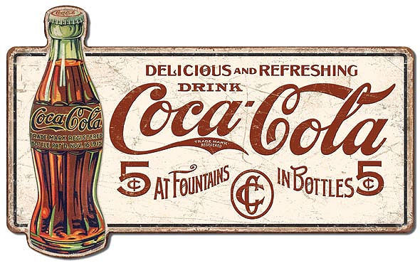 Coca Cola Delicous 5 Cents Large Metal Signs Weathered Look Sign