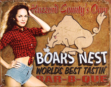 Photo of DUKE'S OF HAZZARD BOARS NEST AD BOASTING WORLD'S BEST BAR-B-QUE, HAS DAISEY DUKE STRIKING A PRETTY POSE RICH COLOR AND NICE DETAILS