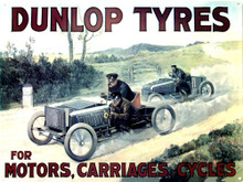 Photo of DUNLOP TYRES ENAMEL SIGN THIS BRITISH AD FOR MOTORS, CARRIAGES & CYCLES HAS TWO VERY OLD RACE CARS.. RICH COLORS AND FINE DETAILS