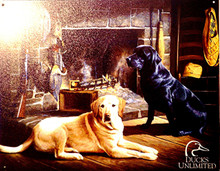 DUCKS UNLIMITED WAITING AT CROSS CREEK SIGN SHOWS A BLACK AND YELLOW LAB WAITING PAITENTLY BY THE FIRE FOR THEIR MASTERS RETURN