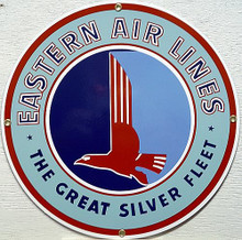 Photo of EASTERN AIRLINES PORCELAIN SIGN, THE GREAT SILVER FLEET HAS GREAT DETAILS AND RICH CONTRAST