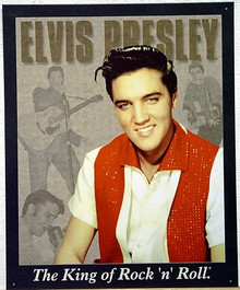 Photo of ELVIS PROTRAIT WITH OTHER PICTURES IN THE BACKGROUND…THE KING OF ROCK 'N' ROLL SIGN HAS VERY NICE COLORS AND DETAILS