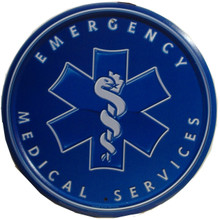 EMS ROUND SIGN, IS BLUE AND WHITE AND THE ONLY EMS SIGN IN OUR COLLECTION