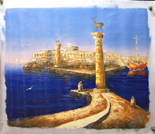 Photo of ENTRANCE TO HARBOR medium SIZED OIL PAINTING