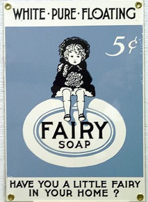 "Photo of FAIRY SOAP PORCELAIN SIGN ASKS THE QUESTION ""DO YOU HAVE A LITTLE FAIRY IN YOUR HOME?  NICE DETAIL, COLOR AND GRAPHICS"