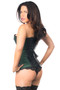Dark Green Top Drawer Brocade and Faux Leather Boned Corset by Daisy Corsets