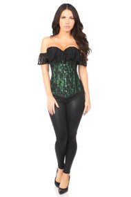 Green Lavish Lace Off The Shoulder Corset by Daisy Corsets