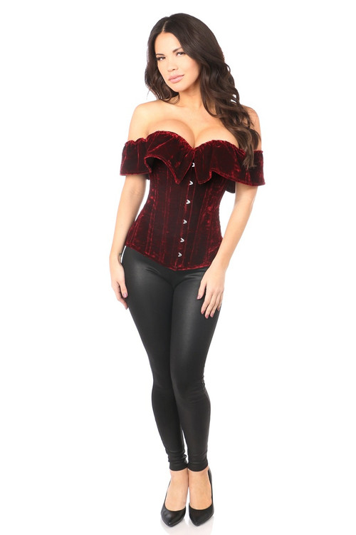 Top Drawer Velvet Off Shoulder Corset by Daisy Corsets-Red