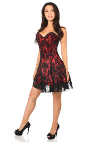 Lavish Lace Corset Dress by Daisy Corsets-Red