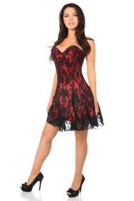 Lavish Lace Corset Dress by Daisy Corsets-Red