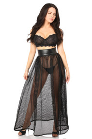 Black Fishnet and Faux Leather Long Skirt by Daisy Corsets