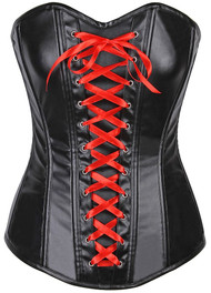 Lavish Wet Look Faux Leather Lace Up Over Bust Corset by Daisy Corsets