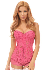 Top Drawer Sheer Lace Corset by Daisy Corsets-Fuchsia