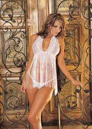Lace and Fringe Babydoll by Shirley of Hollywood-White