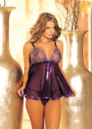 Sequin Embroidery Babydoll Set by Shirley of Hollywood-Purple