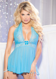 Stretch Mesh and Lace Babydoll Set by Shirley of Hollywood-Turquoise