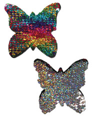 Pastease Rainbow and Silver Reversible Sequin Butterfly Nipple Pasties