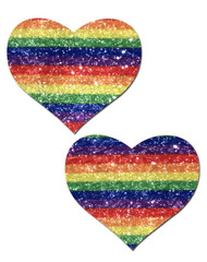 Pastease Glitter Heart Nipple Pasties-Rainbow