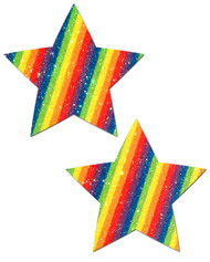 Pastease Glitter Stars Nipple Pasties-Rainbow