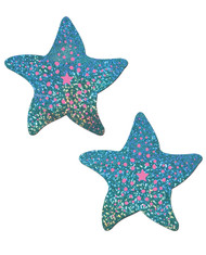 Pastease Liquid Faux Leather Nipple Pasties-Seafoam Starfish