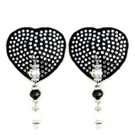 Black Heart Pasties with Crystals and Beads by Bijoux de Nip