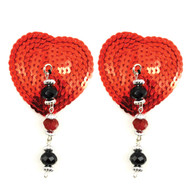 Red Sequin Heart Pasties with Beads by Bijoux de Nip